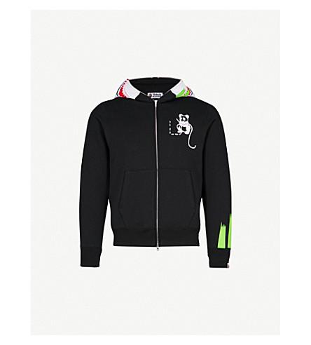 A BATHING APE Panda-print cotton-jersey hoody (Black