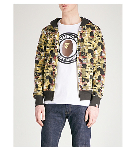 A BATHING APE Checked Camo Shark printed cotton-jersey hoody (Beige