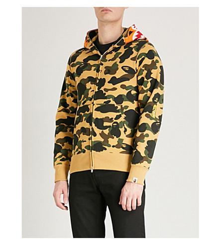 A BATHING APE Tiger-logo cotton-jersey hoody (Yellow