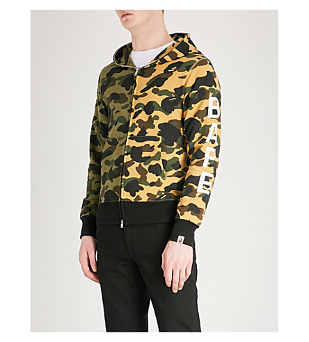A BATHING APE Camouflage-print cotton-jersey hoody (Grey+yellow