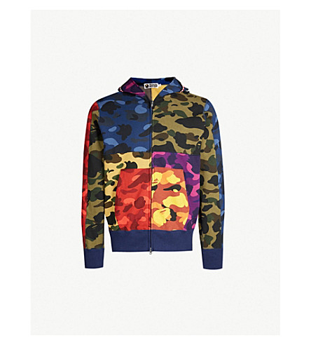 A BATHING APE Camouflage shark cotton-jersey hoody (Multi