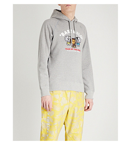 A BATHING APE Year of the Dog Milo printed cotton-jersey hoody (Grey