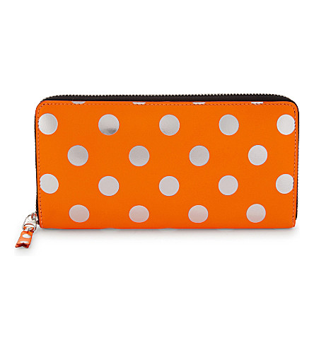 COMME DES GARCONS Optical spotted leather wallet (Orange/white