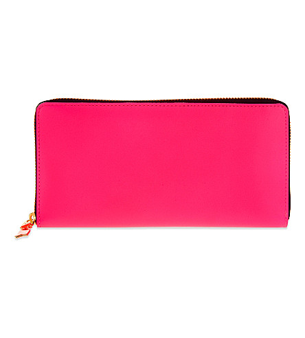COMME DES GARCONS Super flourescent long leather wallet (Pink