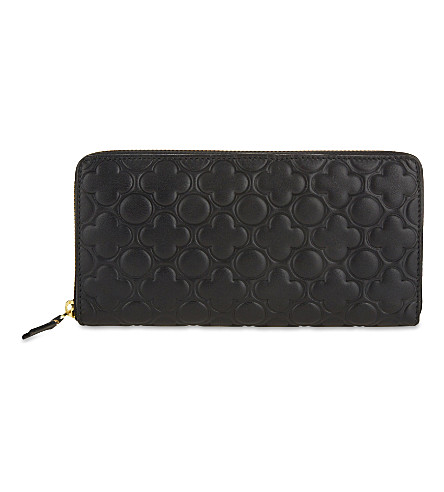 COMME DES GARCONS Clover-embossed long leather wallet (Black++classic+emb