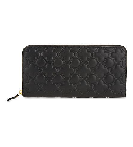 COMME DES GARCONS 三叶草-浮雕长的皮革钱包 (黑 + + 经典 + 教统局