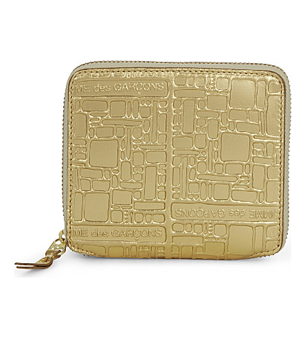 COMME DES GARCONS Square embossed leather wallet (Gold+emb