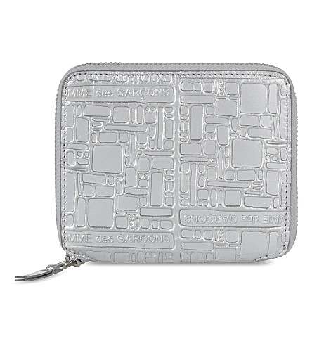 COMME DES GARCONS Square embossed leather wallet (Silver emb