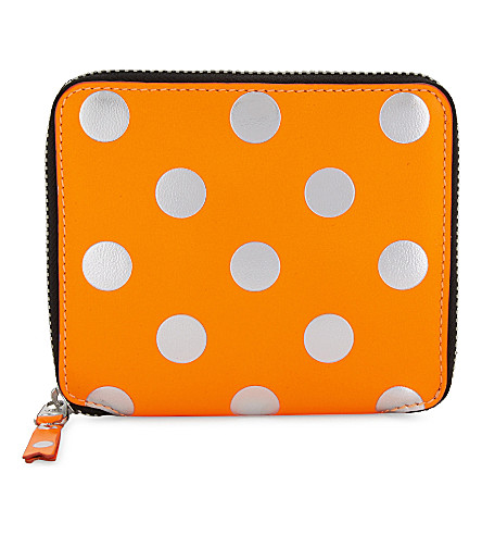 COMME DES GARCONS Neon and metallic leather wallet (Orange/white