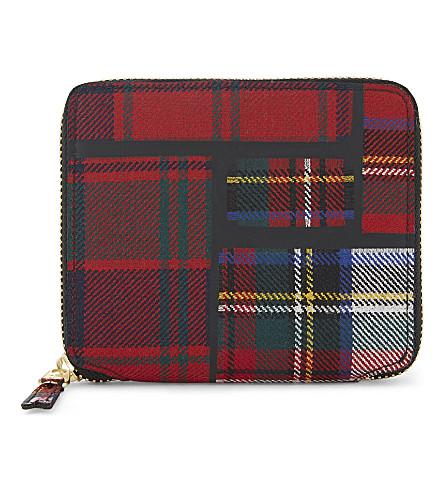 COMME DES GARCONS Tartan square zip-around wallet (Red