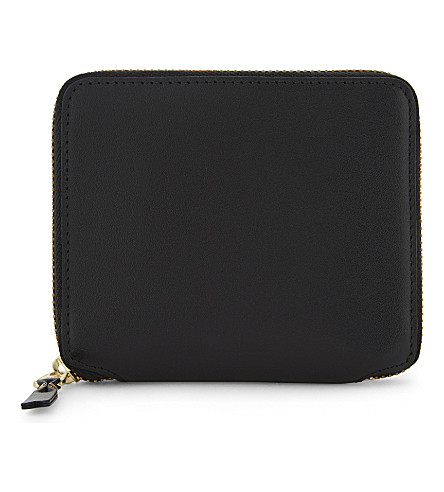 COMME DES GARCONS Square leather zip-around wallet (Black+plain