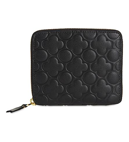 COMME DES GARCONS Clover square leather wallet (Black++classic+emb