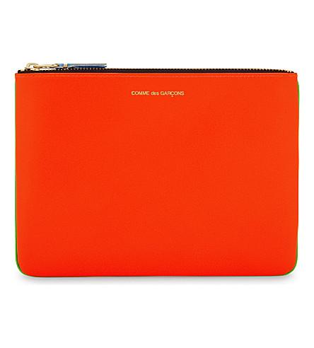 COMME DES GARCONS Super fluorescent pouch large (Green orange