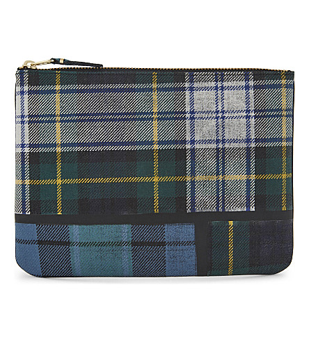 COMME DES GARCONS Tartan large wool pouch (Green