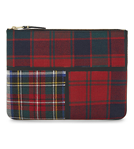 COMME DES GARCONS Tartan large wool pouch (Red
