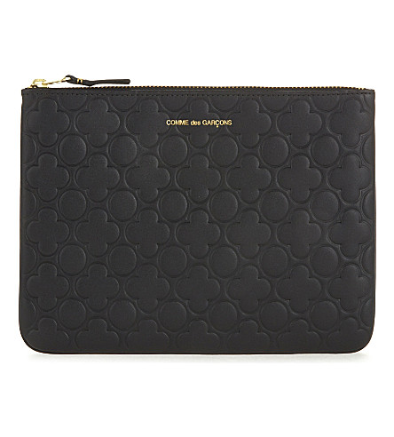 COMME DES GARCONS Clover embossed leather large pouch (Black++classic+emb