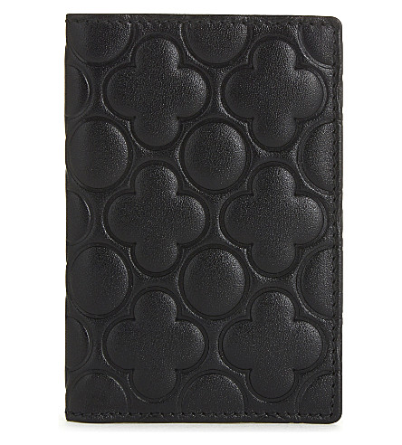 COMME DES GARCONS Clover embossed leather card holder (Black++classic+emb