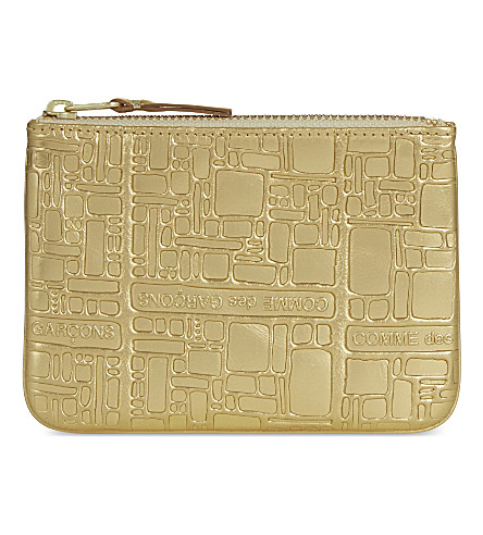 COMME DES GARCONS Embossed small metallic leather pouch (Gold+emb