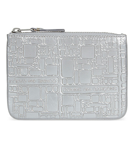 COMME DES GARCONS Embossed small metallic leather pouch (Silver emb