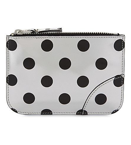 COMME DES GARCONS Optical spotted leather pouch (Black/silver