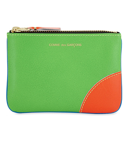 COMME DES GARCONS Super fluorescent small leather pouch (Blue+green