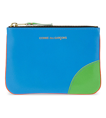 COMME DES GARCONS Super fluorescent small leather pouch (Blue