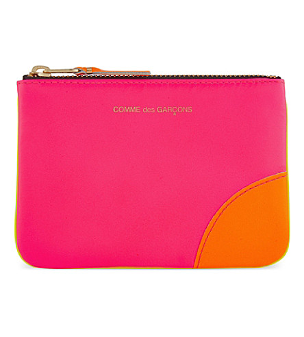 COMME DES GARCONS Super fluorescent small leather pouch (Pink