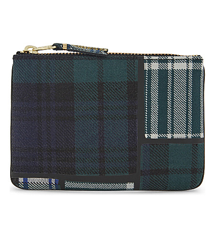 COMME DES GARCONS Tartan small wool pouch (Green