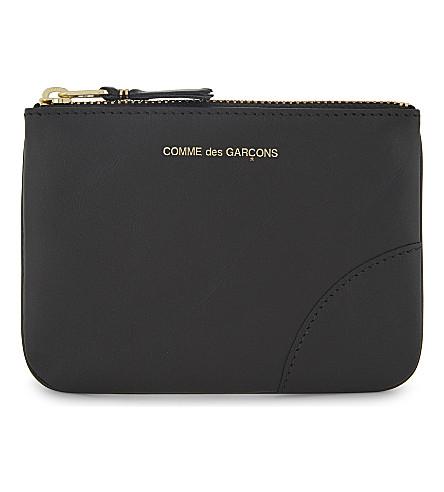 COMME DES GARCONS Small leather pouch (Black+plain