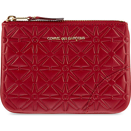 COMME DES GARCONS Geometric embossed pouch (Red