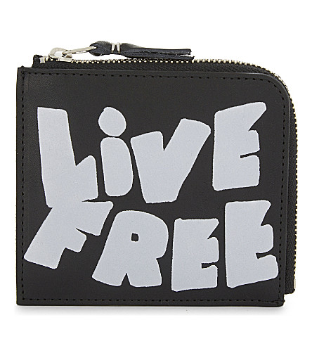 COMME DES GARCONS Live Free leather half-zip wallet (Black/white