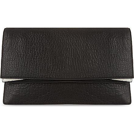 MCQ ALEXANDER MCQUEEN Soft leather foldover clutch (Black/white