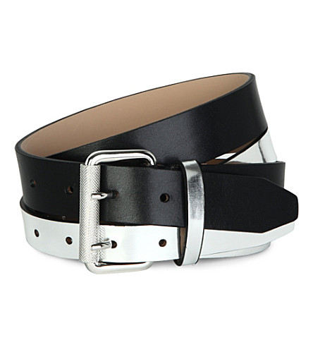 MCQ ALEXANDER MCQUEEN Two-tone leather belt (Silver/black
