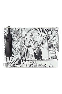 MCQ ALEXANDER MCQUEEN Leather manga print clutch
