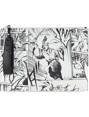 MCQ ALEXANDER MCQUEEN Leather manga print clutch