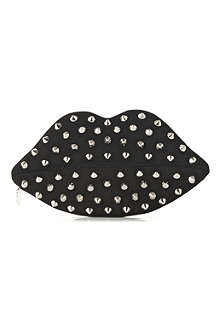 LULU GUINNESS Studded Lips suede and snakeskin clutch