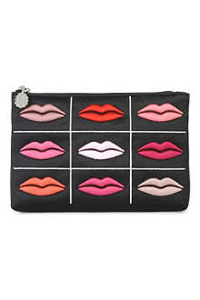LULU GUINNESS Lips grid satin pouch