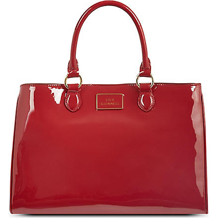 LULU GUINNESS Amelia large patent leather tote (Red