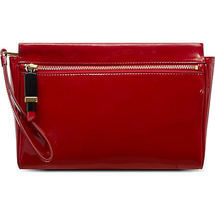 LULU GUINNESS Katie patent clutch (Red
