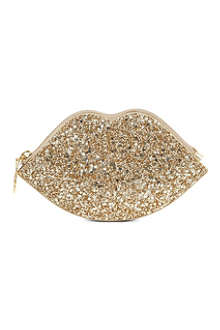 LULU GUINNESS Glitter lip coin purse