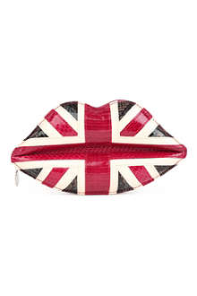 LULU GUINNESS Union Jack Lips snakeskin clutch