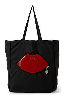 LULU GUINNESS Lips foldaway shopper
