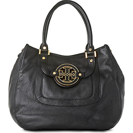 TORY BURCH Angelux Amanda leather hobo (Black