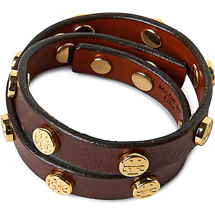 TORY BURCH Leather wrap bracelet (Brown
