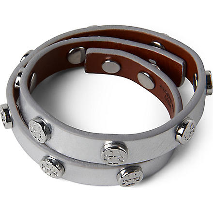 TORY BURCH Leather wrap bracelet (Silver