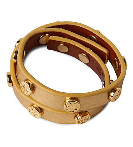 TORY BURCH Leather wrap bracelet (Gold