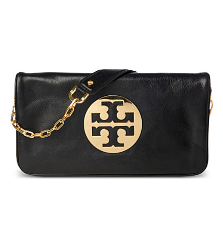 TORY BURCH Reva leather clutch (Black/gold