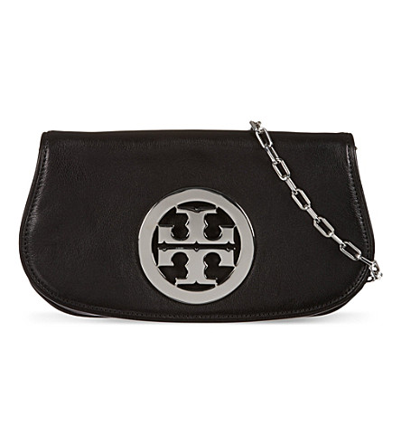 TORY BURCH Logo clutch with chain (Black/silver