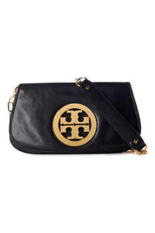 TORY BURCH Leather logo clutch with chain
