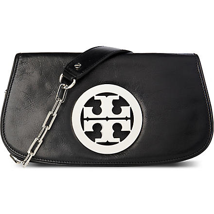 TORY BURCH Leather logo clutch with chain (Black/silver